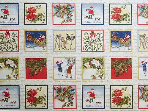 Makower Christmas Vintage Card Making Squares Quilt Fabric