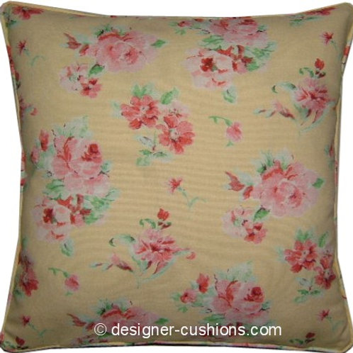 Shabby Chic Lemon Floral Cotton Duck Cushion Cover