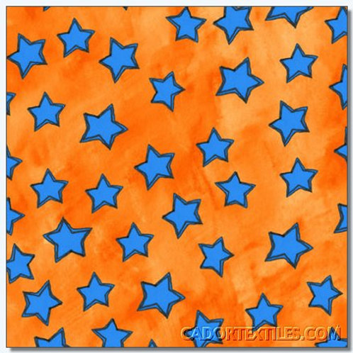 Tara's Brights Orange Stars Quilt Fabric