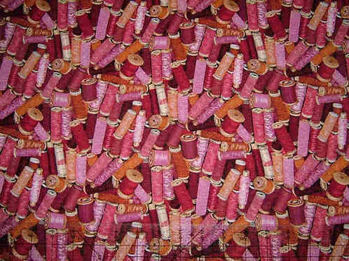 Makower Stash Pink Cotton Reels Sewing Novelty Quilt Fabric
