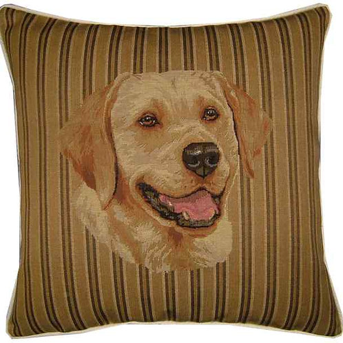 Labrador Head Stripe Tapestry Cushion Cover