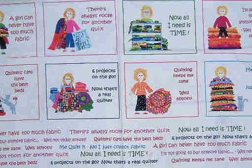 """Nutex Novelty Quilters Quip Quilt Panel Fabric 60cm x 110cm 24"""""""