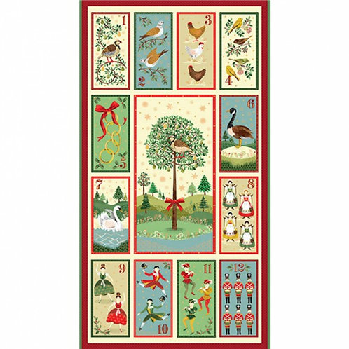 "Makower 12 Days of Christmas Panel 60cm / 24"" Quilt Fabric"