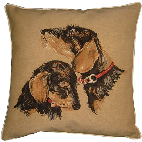 Wirehaired Terrier Heads Tapestry Cushion Cover