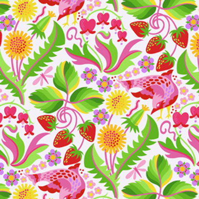 Jane Sassaman - Early Birds - Plum Quilt Fabric