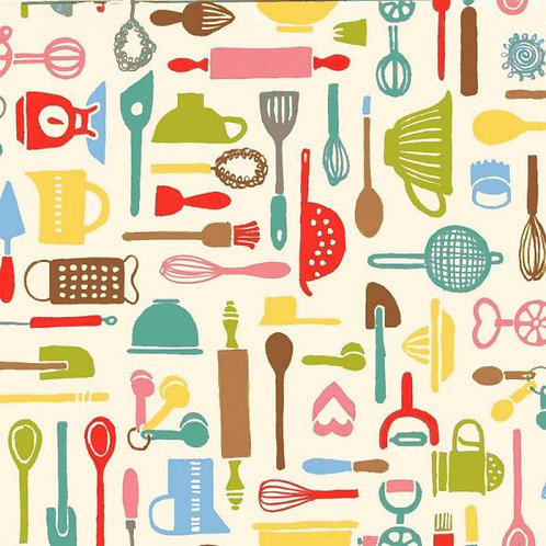 Makower Retro Baked Utensils Quilt Fabric