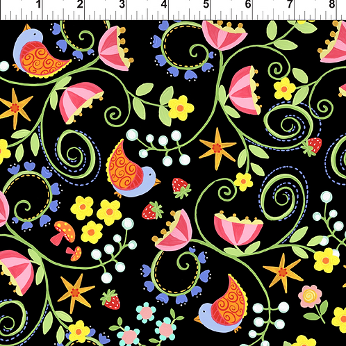 Strawberry Festival Jennifer Heyman 1JHL-1 Black Quilt Fabric