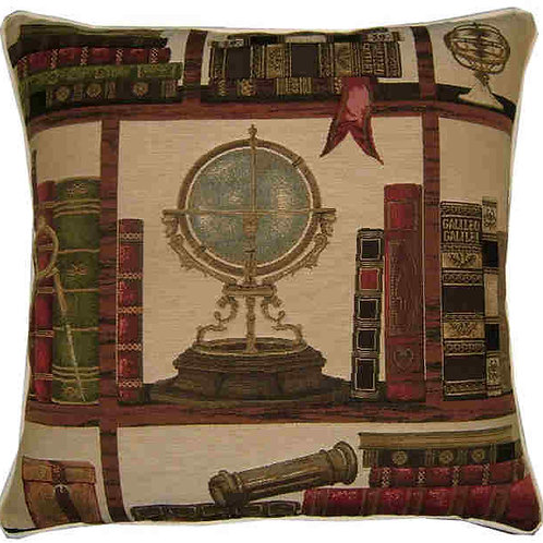 Library Books Nautical Theme Globe Tapestry Cushion Cover