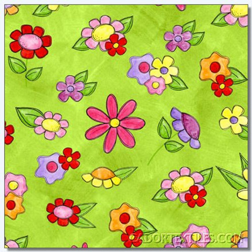 Tara's Brights Green Flowers Quilt Fabric