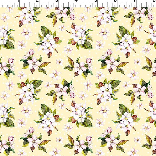 In the Beginning 'Pretty in Pink' Yellow Blossom 4PIP-1 Quilt Fabric