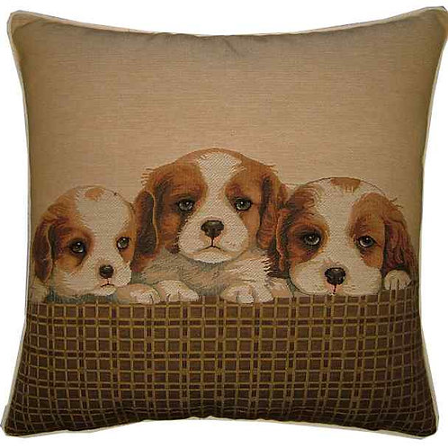 Spaniel Puppies Tapestry Cushion Cover