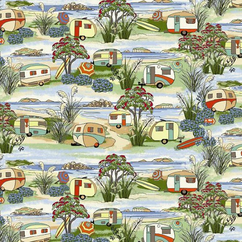 Nutex Novelty Retro Holidays Caravans Quilt Fabric 88730 Col1