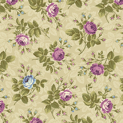 Andover 'Hat Box' Small Purple Roses 93560 Col2 Quilt Fabric