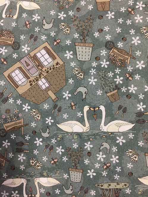 """Lynette Anderson """"Swan Cottage"""" Main 80450 Col1 Quilt Fabric"""