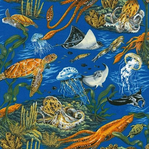 Nutex Novelty Ocean Life Quilt Fabric