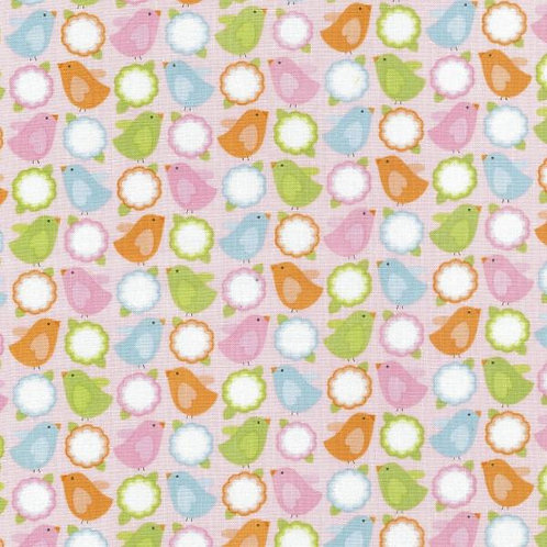 Nutex Novelty Enchanted Garden Pink Bird and Flower Quilt Fabric