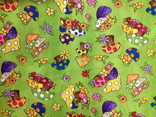 Tara's Brights Green Toadstools Quilt Fabric