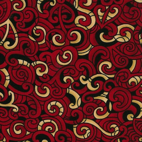 Nutex Kiwiana Moko Red & Cream Quilt Fabric 85200 Col4
