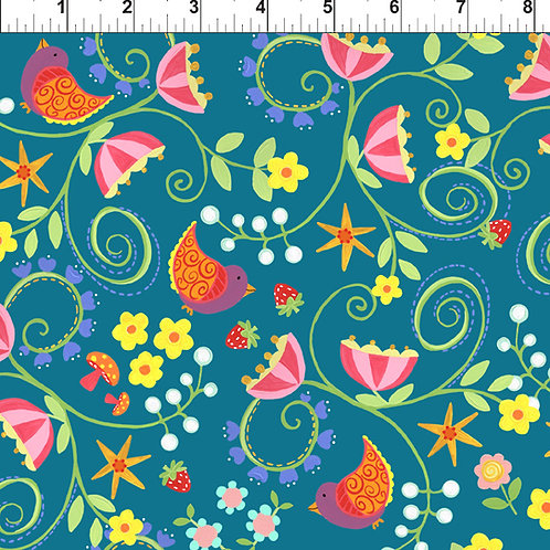 Strawberry Festival Jennifer Heyman 1JHL-1 Blue Quilt Fabric