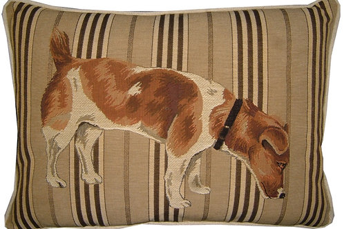 Jack Russell Sniffing Oblong Stripe Tapestry Oblong Cushion Cover