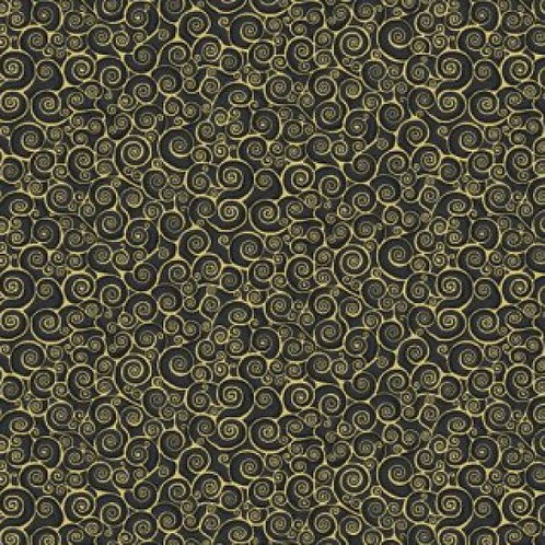Makower 'Rhapsody' Black & Gold Scroll 93600 Col8 Quilt Fabric