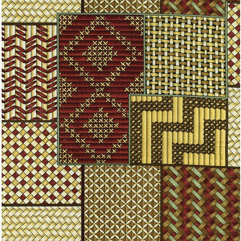Nutex Kiwiana Kete 88070 Brown & Red Quilt Fabric