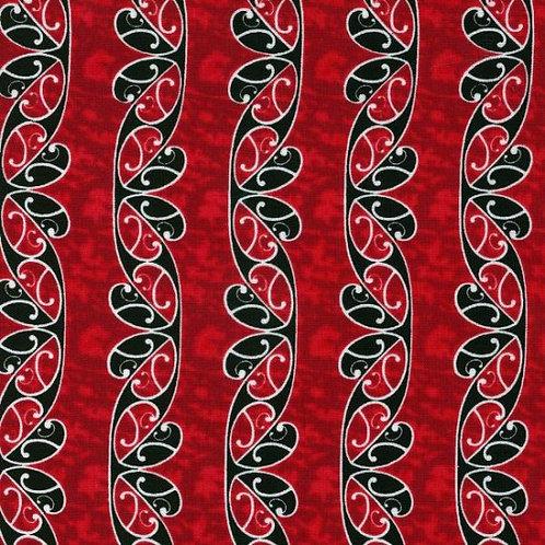 Nutex Kiwiana Koru Red Quilt Fabric