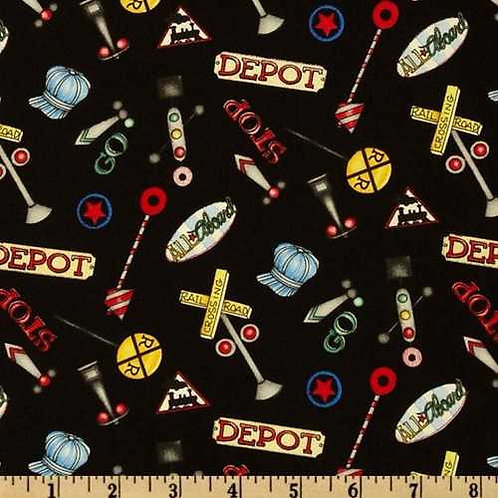 Wilmington Prints Riding the Rails Black Rail Signs Quilt Fabric 67186-939W
