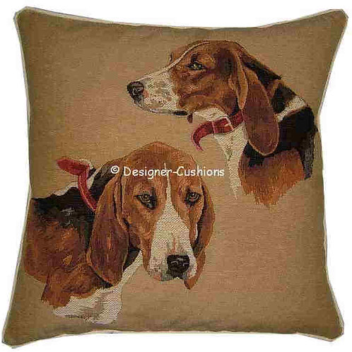 Beagle Heads Tapestry Cushion Cover