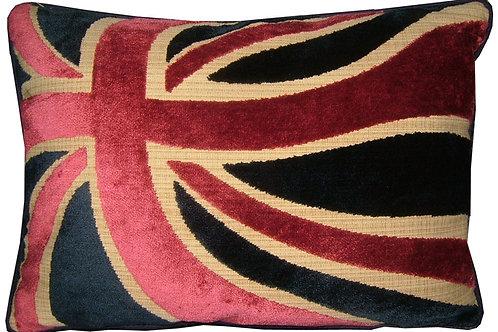 Union Jack Cut Velvet Red Blue Wavy Flag Tapestry Oblong Cushion