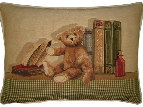 1 Teddy Bear Bookshelf Tapestry Oblong Cushion Cover