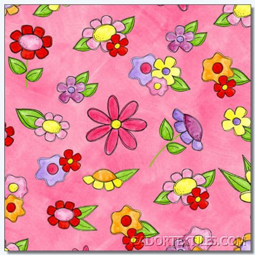 Tara's Brights Pink Flowers Quilt Fabric