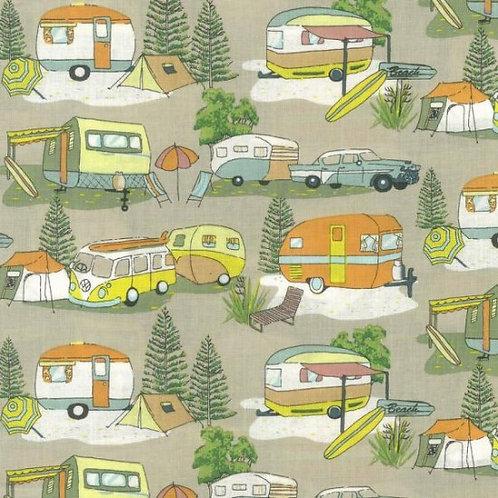 Nutex Novelty Retro Holidays Motor Camp Quilt Fabric 88730 Col1