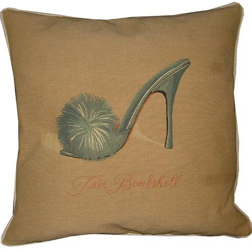 Glamour Fluffy Slipper Tres Bombshell Blue Tapestry Cushion Cover
