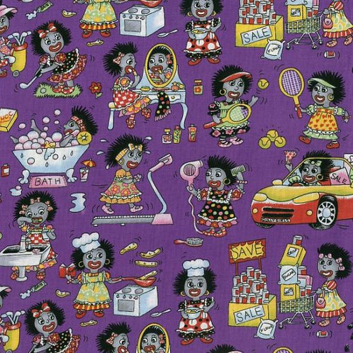 Nutex Novelty Oh My Golly Novelty Golly Wog Golliwog Purple Beauty Quilt Fabric