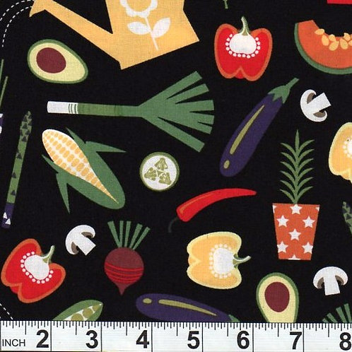 Nutex Novelty Green Grocer Veggies Novelty Quilt Fabric