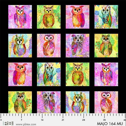 PB Textiles 12 Majestic Owls 75cm Panel Quilt Fabric