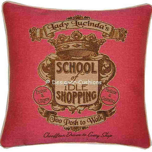 School of Idle Shopping Pink Tapestry Cushion Cover
