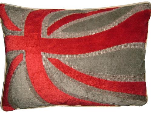 Union Jack Cut Velvet Red & Silver Wavy Flag Tapestry Oblong Cushion