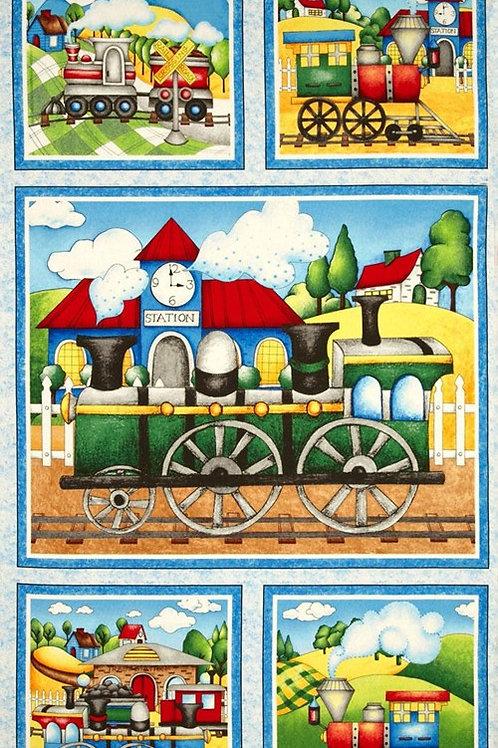 "Wilmington Prints Riding the Rails 60cm (24"") Panel Quilt Fabric 67182-473W"