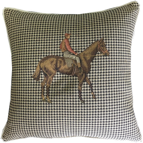 Horse & Jockey Brown and Red Silks Riding Tapestry Cushion Cover