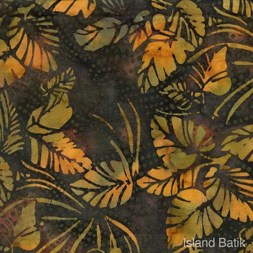 Island Batiks IB108-B1 Green & Gold Foliage Quilt Fabric