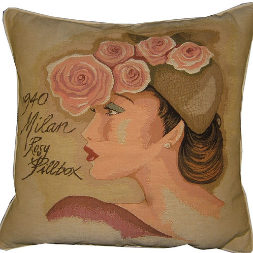 1940 Milan Rosy Pillbox Hat Tapestry Cushion Cover