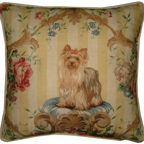 """Lee Jofa """"Putting on the Dogs"""" Yorkie Yorkshire Terrier Cushion Cover"""