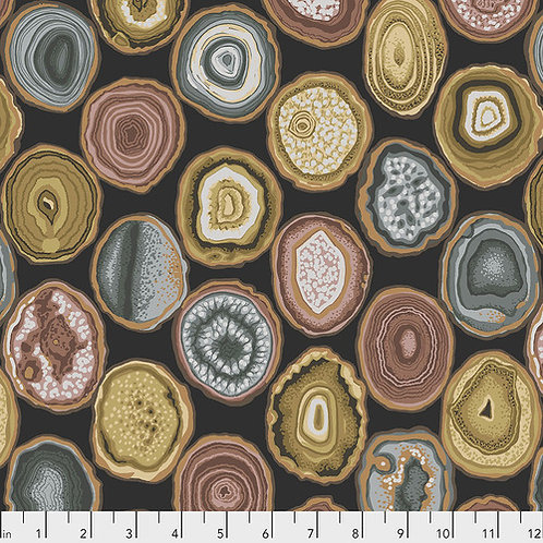Kaffe Fassett Feb2020 - Geodes PWPJ099 CHARCOAL Quilt Fabric