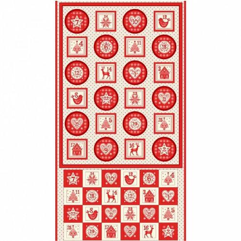 "Makower Scandi Red & White Advent Calendar 60cm / 24"" panel"