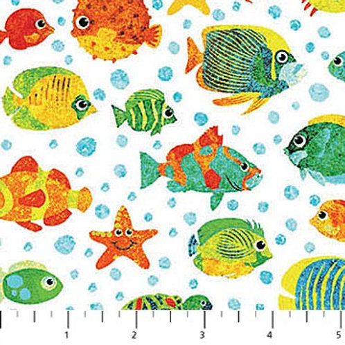 Northcott Kids Undersea 3D White Fish 39409-10 Quilt Fabric