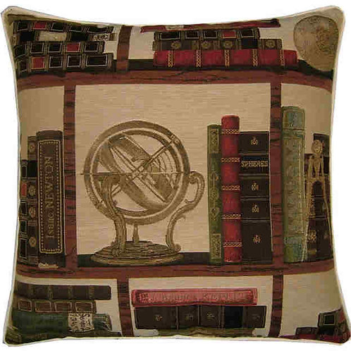 Library Books Nautical Sphere Globe Tapestry Cushion Cover