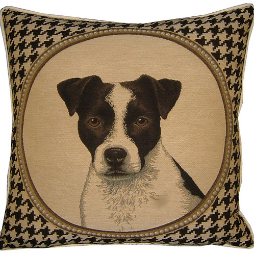 Jack Russell Dog Tooth Check Tapestry Cushion Cover