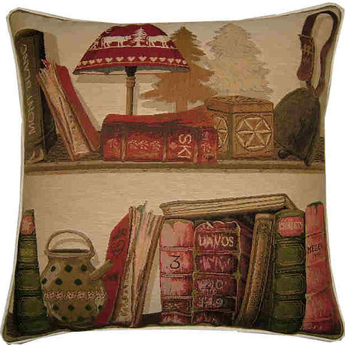 Library Books Swiss Ski Tapestry Cushion Cover